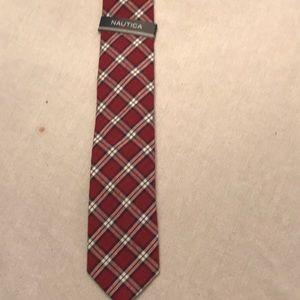 Nautica brand tie red and navy plaid